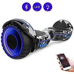 RCB Gyropode 6.5 Pouces Scooter Electrique Auto-Equilibré Hoverboardboard avec Roues Clignotantes Bluetooth intégré pour Ados et Enfants