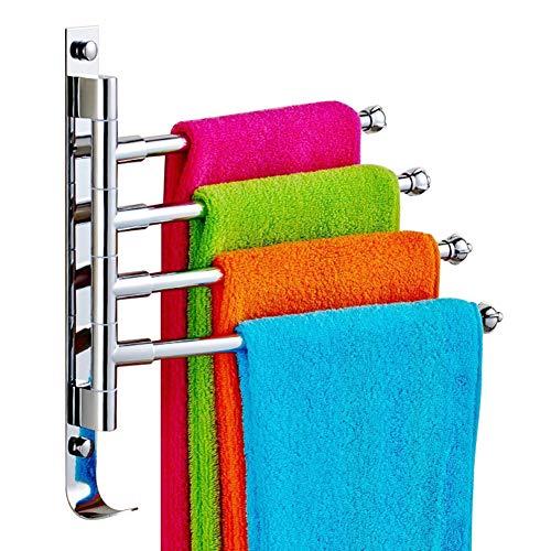 Togather Handtuchhalter Edelstahl Handtuchhaken Bad und Küche Wandmontage Haken mit 4 Armen 180° Drehung