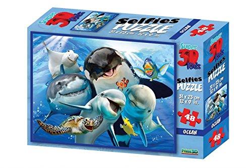 DAM 3DPuzzles 3DDAMPrime 3D Puzzle 31x23cm-48pcs: Ocean Selfie, in Box 22,86 x 1524 cm, 3+, Mehrfarbig (48)