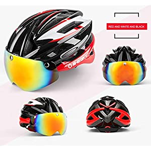 INBIKE ciclismo casco bicicleta casco con ciclismo gafas ultraligero Integrally-molded carretera MTB casco magnético gafas casco, Red+White+Black