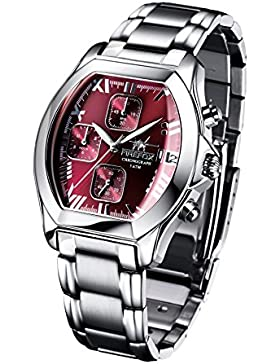 FIREFOX NEBUKADNEZAR FFS175-105 sunray bordeauxrot Damenuhr Armbanduhr Chronograph massiv Edelstahl Sicherheitsfaltschließe...