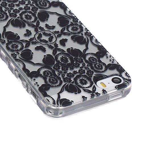 SainCat Custodia iPhone 5 / 5S / SE,Fashion Design Ultra Slim Morbido Flessibile Trasparente Soft TPU Gel Silicone Thin Painting Case Caso Cover,Clear Sottile Copertina Antiurto Protecttivo Shell Cabi Fiore Nero