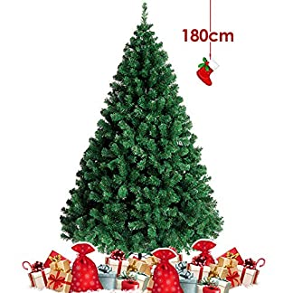 Amzdeal 180 CM Árbol de Navidad – Árbol Artificial de Navidad con 900 Tips, Pino para Decoración Navideña de Material PVC, Frondoso con Soporte Metálico, Simulado y Estable, Interior/Exterior