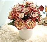 Sisthirth Flores Artificiales, Flores Falsas Flores de Seda Boda plástica 10 Cabezas Ramos de Rosas Arreglo...
