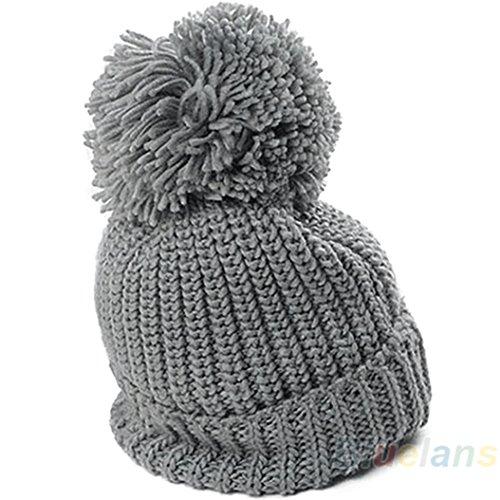 timeracing Fashion Frauen Mädchen Winter Slouch Knit Cap warme Oversized Cuffed Beanie Crochet Ski Pudelmütze grau Knit Slouch Beanie