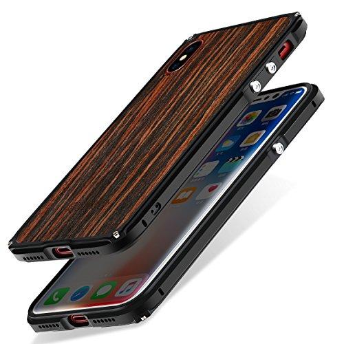 Funda iPhone X, Funda iPhone 10 Carcasa, SHOWKOO Metálico Aluminio Marco Madera...