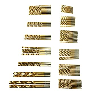 ASTMAKE Newest 99pcs/Set Titanium Coated HSS High Speed Steel Drill Bit Set