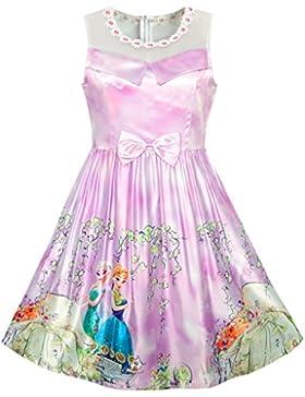 Sunny Fashion Vestido para niña Flor Encaje Blanco Collar Falda 4-12 años