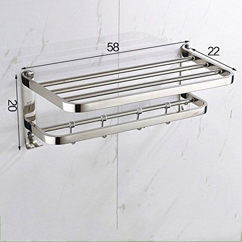 MoMo 304 Edelstahl Handtuchhalter, Wand Badezimmer Handtuchhalter Regal Rack mit Haken Design (Bohren Installation),58 cm