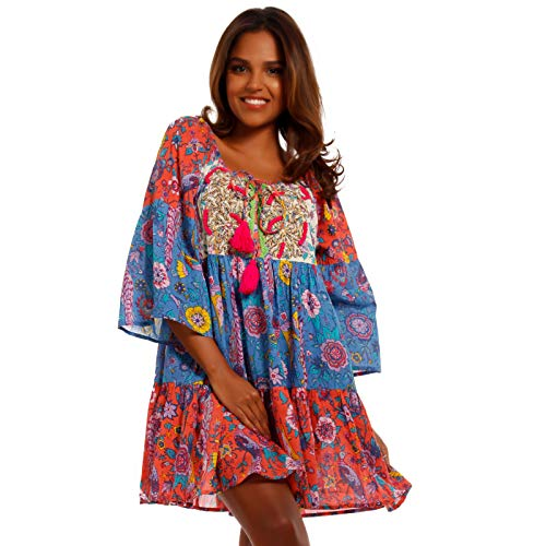 Damen Hippie Tunika Kleid Patchwork Minikleid Made IN India stylisches Strand-Kleid oder Party-Kleid für Frühling und Sommer - Jumper aus 100% Baumwolle - Freizeit-Kleid (M/L = 34/36/38, Mehrfarbig)
