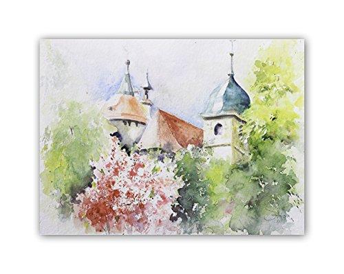 Aquarellbild Kirche hinter Bäumen - handgemalt
