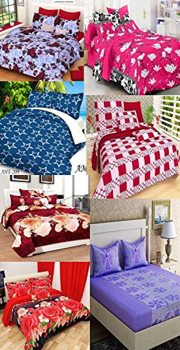 Urban Home Glace Cotton King Size Double Bedsheet with 2 Pillow, Multicolour - Set of 7