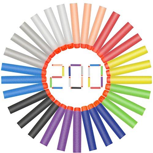Hiveseen 200 Pack Darts Pfeile für Nerf Nachfüllpack, 7.2cm Schaumstoff, 10 Farben, Gun Ersatzpfeile für Nerf N-Strike Elite Series Blasters Zombie Mega Rebelle Modulus (Grüner Pfeil 100)