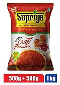 Supriya Pickles Chilli Powder 1KG - (Pack of 500g+500g) Stemless Quality