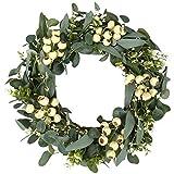 Kunstmatige eucalyptus krans 22 inch kerst deur krans muur krans wijnstokken takken bladeren Garland voor bruiloft, feest, tuin, wanddecoratie