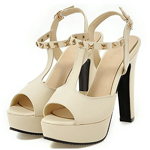 TAOFFEN Damen Party Block High Heel Peep-toe Buckle T-Strap Multicolor Sandalen 619 Beige