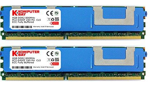 Komputerbay 8GB (2X4GB) DDR2 PC2-6400F 800MHz ECC Fully Buffered FB-DIMM (240 PIN) 8GB w / Heatspreader -