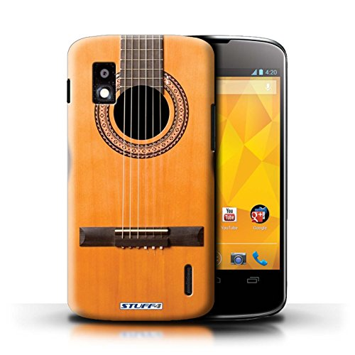 Kobalt® Imprimé Etui / Coque pour LG Nexus 4/E960 / Sunburst Electrique conception / Série Guitare Acoustique en Bois