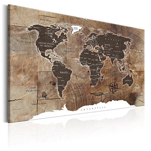 decomonkey Bilder Weltkarte 120x80 cm XXL 1 Teilig Leinwandbilder Bild auf Leinwand Wandbild Kunstdruck Wanddeko Wand...