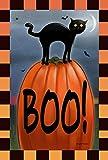 Toland Home Garden Boo Cat Flaggen 119691und 109691, Textil, schwarz/orange, 28 x 40 House Size