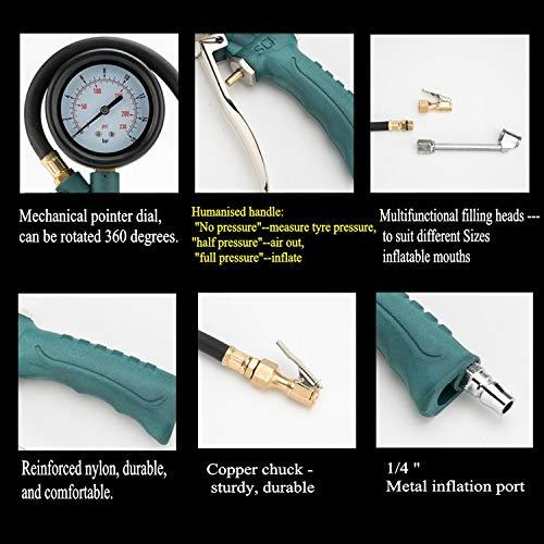 ZHONG-AN-Pistola-pneumatica-per-gonfiaggio-pneumatici-con-manometro-Gamma-230-PSI-mandrino-in-ottone