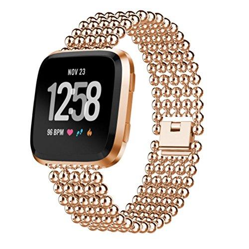 Voberry Armband, Fünf Perlen Runde Perlen Legierung Smart Watch Ersatzarmband Handschlaufe Für Fitbit Versa (Roségold)