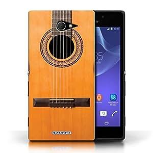 Coque de Stuff4 / Coque pour Sony Xperia M2 / Acoustique en Bois Design / Guitare Collection