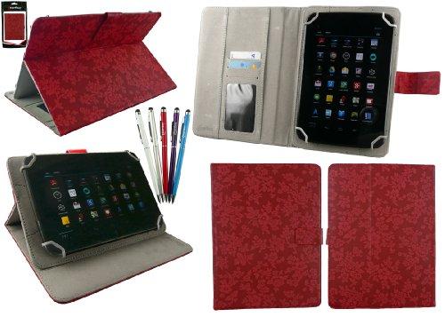 emartbuy Bündel von 5 2 in 1 Eingabestift+Universalbereich Jahrgang Blumen Rot Folio Hülle Schutzhülle Wallet Hülle Schutzhülle mit Kartensteckplätze Geeignet für I.onik TP - 1200QC(7.85 Zoll)