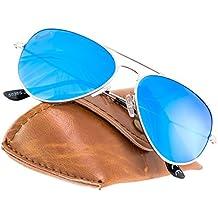 Rivacci Gafas de Sol Aviador Hombre Mujer Polarizadas - Marca Retro / Vintage – Lentes Piloto Deportivas Espejadas – Plata / Espejo Azul Polarizado