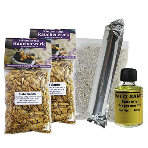 PALO SANTO Öl + 120ml (2x60ml) Holz Granulat zum Räuchern & Ausräuchern (ökologisch Bursera Peru). 8-tlg Set für Meditation Ruhe Entspannung Hausreinigung Rauhnächte. Mit ZUBEHÖR & Booklet. 81051-6