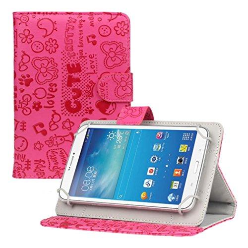 cover per tablet 7 pollici Vovotrade®® Per 7 Pollici Android Tablet Universale del Basamento del Cuoio della Copertura della Cassa (Rosa Caldo)