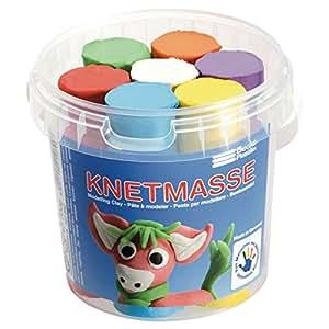 Plastic bucket with 7 pumper sticks of plasticine