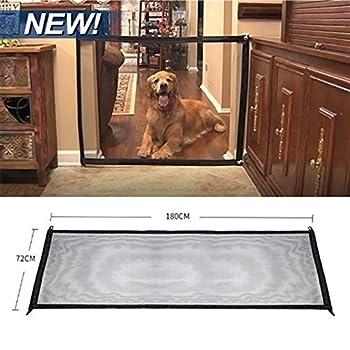 Magic Gate Portable Dog Safe Guard - Installer n'importe Où, Animal Domestique Rétractable Barrière de Sécurité pour Chien Animaux, 180 x 72 cm (Noir)