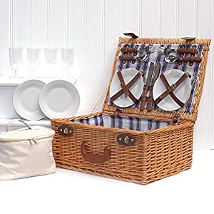 Luxury 4 Person Henley Style Wicker Picnic Basket Hamper with a Chiller Bag and Accessories - Gift Ideas for Valentines, Mother's Day, Birthday, Wedding, Anniversary, Business and Corporate