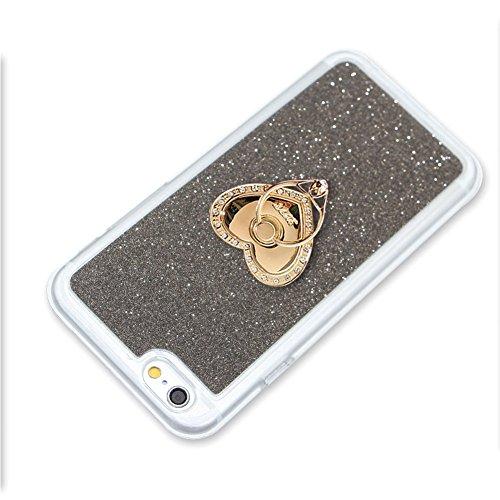 Für iPhone 7 4.7 Zoll Schrittweise Farbwechsel TPU Cover, Herzzer Bling Glitter Schutz Hülle mit Liebe Herzen Ring Halter, Luxus Sparkles Glänzend Glitzer Silikon Crystal Case Durchsichtig Soft Rückse Schwarz Ring Halter