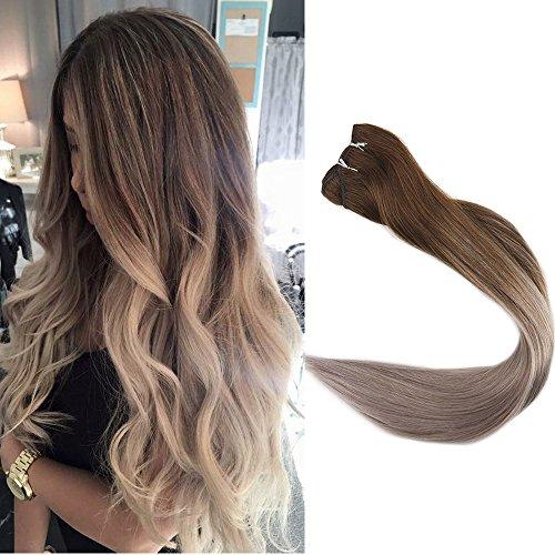 Full Shine 16 Zoll Weaving Extensions Haarverlangerung Farbe #4 Dark Brown Und #18 Ash Blonde Weaving Echthaar Tressen 100 Grams (Zopf-post)