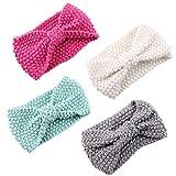 Fascigirl Baby Stirnband, 4Pcs Baby Mädchen Stirnband Bow Wolle Stricken Turban Stirnbänder für Baby Neugeborene Kleinkinder
