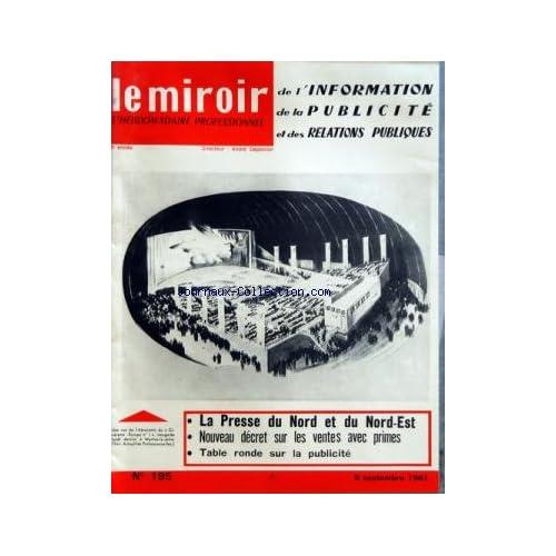MIROIR DE L'INFORMATION DE LA PUBLICITE ET DES RELATIONS PUBLIQUES (LE) [No 195] du 08/09/1961