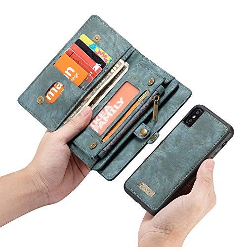 HongGXD iPhone X Luxus handgefertigte Trifold Leder Brieftasche Fall mit abnehmbaren Rückendeckel & Magnetverschluss & Card Slot & Zipper & Landyard (Color : Blue) -