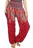 Lofbaz Pantaloni da Donna Smocked Waist Boho Harem Pants Floreale Borgogna L