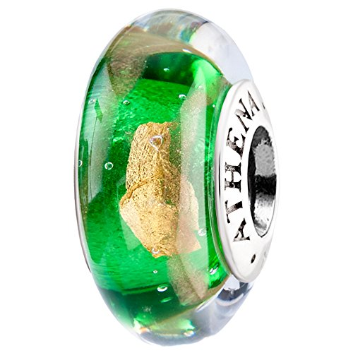 ATHENAIE Original Murano-Glas 925 Silber-Kern-Red Hot 18kt Foill passten alle europäische Armbänder und Halsketten -Charme-Korn-Farbe Grün (Korn-kern)