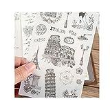 EJY 6PCS Weltarchitektur Reise-Aufkleber Craft Deco Tagebuch Papier Aufkleber DIY Scrapbooking Geschenk