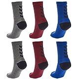 Hummel 6 Paar Damen und Herren Socken Fundamental 6er Pack Sock schwarz / weiß Logo viele Größen (grau/rot/blau (8668), 41 - 45 (Size 12))