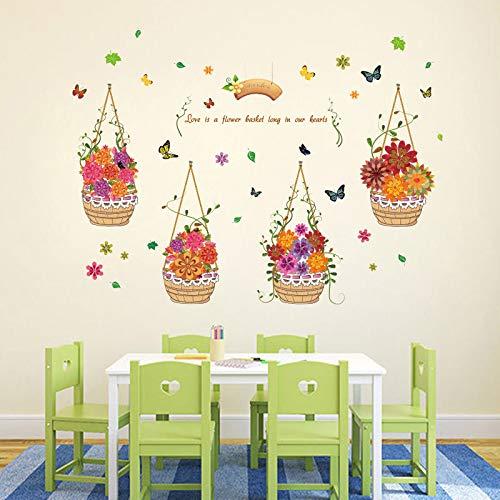 ELGDX Wandaufkleber Handgemalte Korb für Kinderzimmer Kindergarten Wohnzimmer Hauptdekorationen Kunst Decals DIY Blumen Wandbilder