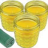 3 Citronella Duftkerzen im großen dekorativen Glas zur Mückenabwehr, 24 Stunden Brenndauer, Glas Ø 10 cm, Höhe 12 cm Windlicht, Anti-Mücken-Kerzen, Zitronen-Duft für Outdoor und Garten (Gelb)