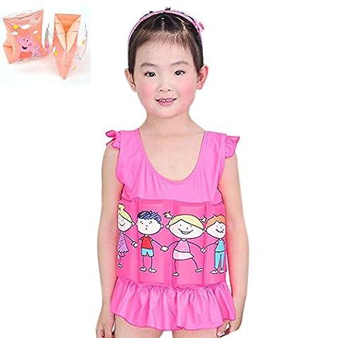 Deylay Enfant d'apprentissage gratuit de la natation Float Suit réglable protection solaire UV Maillot de bain pour les filles avec des bandes de bras, 3-5