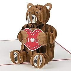 Idea Regalo - Ich liebe dich, Orso con cuore, Biglietto d'amore, per San Valentino, biglietto di auguri con cuore, regalo romantico per amici, regalo per fidanzata, biglietto pop up