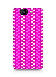 Amez designer printed 3d premium high quality back case cover for Micromax Canvas Knight A350 (Romantic Pink n White Color Hearts)