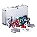 Relaxdays Coffret de 300 jetons de poker laser 2 cartes 5 cubes Bouton Dealer Mallette en aluminium verrouillable Argenté