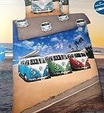 Bettwäsche VW Bus Bulli Strand Palmen Bezug 135x200cm Kissen 80x80cm Renforcé mit Reißverschluss 100%Baumwolle ...